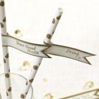 Vintage Romance Ivory & Gold Straw Flags (30)